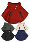 Girls Winter Faux Leather Trim Cape New Kids Wrap Poncho Coat Ages 3-12 Years