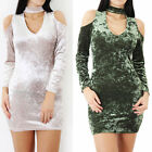 Ladies Womens Velour Crushed Velvet Party Cut Shoulder Bodycon Mini Dress