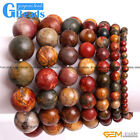 Handmade Natural Stone Picasso Jasper Beaded Stretchy Bracelet Free Shipping 7""