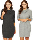 Womens Knitted Baggy Dress Ladies Cowl Neck Long Sleeve Short Mini Plain