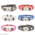 LOVE Multilayer Wood Beads Snap DIY Button Leather Bracelet Jewelry 23cm