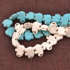 1strand Howlite Turquoise Gemstone Side Ways Flat Elephant Loose Beads