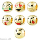 New 3PCs Gold Plated Emoji Expression Charms Beads For Bracelet Anklet