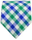 Blue, Green and White Cotton Necktie by Paul Malone