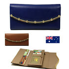Genuine Leather Ladies Womens Trifold Wallet Purse Zip Coins