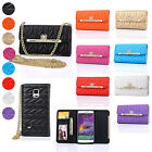 Chain Diamond Bow PU Leather Wallet Flip Case Cover For Samsung Galaxy Note 4