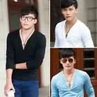 Fashion Slim Fit V collar Men's Casual T-Shirts New Long Sleeve Pullover Tops