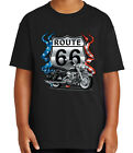 Route 66 Motorcycle Tour Kid's T-shirt Patriotic Bike Tee for Youth - 1246C