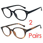 2 Pairs Retro Round Keyhole Clubmaster Reading Glasses Silver Rivet Spring Hinge