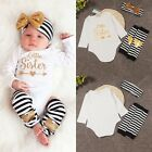 Cute Baby Newborn Girl Jumpsuit Clothes Little sister Tops Pants Hairband Outfit