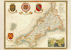Art print POSTER Map of Cornwall County 1850 Thomas Moule
