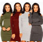 LADIES LONG SLEEVE HIGH NECK KNITTED CUT OUT SHOULDER JUMPER DRESS PLUS SIZE