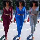 2016 Sexy Women V Neck Autumn Winter Party Long Sleeve Jumpsuit Playsuit Pants