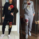 2017 WOMENS  SEQUINS LADIES FASHION LOUNGEWEAR 2 PIECE SET TOP TRACKSUIT JOGGERS