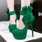 Solid Bowknot Strappy Women High Heels Stilettos Platform Suede Pumps Club Shoes