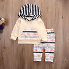 Newborn Baby Boys Girls Floral Hooded Tops +Long Pants Outfits 2PCS Clothes Set