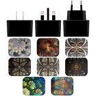 ANDI GREYSCALE KALEIDOSCOPE BLACK UK CHARGER & MICRO-USB CABLE FOR SAMSUNG 1
