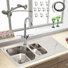 DOUBLE 1.5 BOWL STAINLESS STEEL KITCHEN SINK SET BASIN DRAINER PLUMBING KIT TAPS
