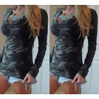 Women Long Sleeve V-neck Camouflage Slim Casual T-shirt Tops Blouse JR