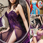 Sexy Womens Sheer Side Slit Lace Long Dress Lingerie+G-string Plus Size Babydoll