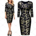 Women Vintage Retro Cocktail Evening Party Sexy Golden Bling Bling Pencil Dress