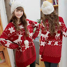 Christmas Women Snow Deer Hip Length Red Knit Jumper Sweater UK Local Postage