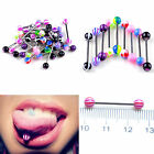 30/50/100pcs Colorful Ball Tongue Nipple Bar Ring Barbell Body Jewelry Piercing