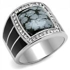Large New Men's Stainless Steel Black IP Obsidian Snowflake Ring Sizes 8-13
