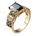 Jewelry Ring Rhinestone Gold Plated Black Diamond Women Gift Prom Crystal Zircon