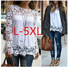 Womens Lady Fashion Long Sleeve Chiffon Embroidery Lace Crochet Blouse Shirt Top