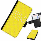 (INI42-T36) PERSONALISED YELLOW HONEYCOMB INITIAL PU LEATHER PHONE CASE COVER