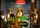 Dogs Playing Poker Cards Table Game WALL ART CANVAS FRAMED OR POSTER PRINT