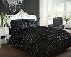 Flamenco Quilt/Cover Duvet Bedding Set Frilled Ruffle Off White, Black or Grey