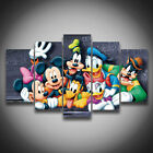 Printed Cartoon Donald Duck Mickey Mouse dog animal painting on canvas 5 panels