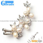 25x60mm Vintage Pretty Pearl White Gold Plated Flower Brooch Fashion Jewelry