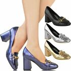 Womens Ladies Low Block Heels Loafers Brogue Smart Trim Office Court Shoes Size