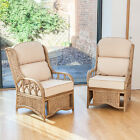 2 Penang Cane Conservatory Furniture Armchairs with Luxury Cushions