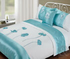 5pc Bed in a Bag Duck Egg Blue Duvet Cover Faux Satin Silk Complete Bedding Set