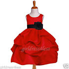 RED/BLACK PICK UP WEDDING FLOWER GIRL DRESS 6M 9M 12M 18M 2 3/4 5/6 7/8 9/10 12