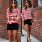 Fashion Women O-Neck White+Red Striped Casual T-Shirt Long Sleeves Blouses Tops