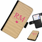 (INI61-T33) PERSONALISED SAND WAVES HEART INITIAL PU LEATHER PHONE CASE COVER
