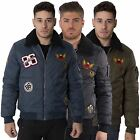 Mens Zip Through Jacket Fur Collar Winter Coat Embroidered Badges Size S-XXL