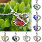 Women Crystal Pendant Chain Double Heart Necklace Love Valentines Gift Exquisite