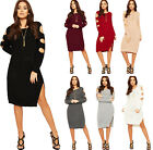 Womens Cable Knitted Jumper Dress Ladies Cold Shoulder Cut Long Sleeve Side Slit