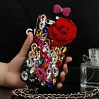 3D bling roses perfume bottle crystal chain case TPU cover for iphone galaxy