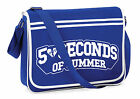5SOS Five SOS Messenger Shoulder Bag School Collage Gym Safety Pin Back Logo