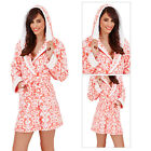 Loungeable Womens Floral Short Robes New Ladies Soft Luxury Fleece Nightwear