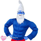 MENS STRONG GNOME FANCY DRESS COSTUME BLUE MUSCLE CHEST 80S TV CARTOON FILM