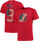 Reebok Taylor Hall New Jersey Devils Red Primary Flag Name  Number T Shirt