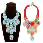 New Fashion Choker Rope Statement Necklace For Women Multicolor Flower Pendant